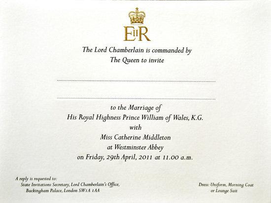 kate and william royal wedding invitation. prince william royal wedding