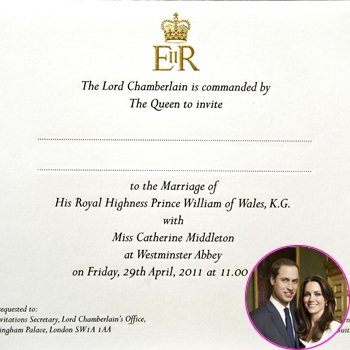 william and kate wedding invitation card. Prince William Kate Middleton
