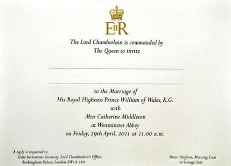 kate and prince william wedding invitation. Prince William Kate Middleton