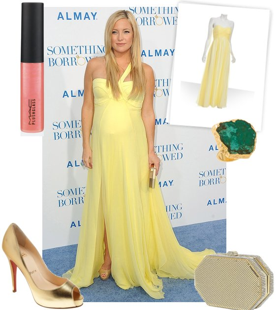 kate hudson dress yellow. Mom-to-be Kate Hudson showed