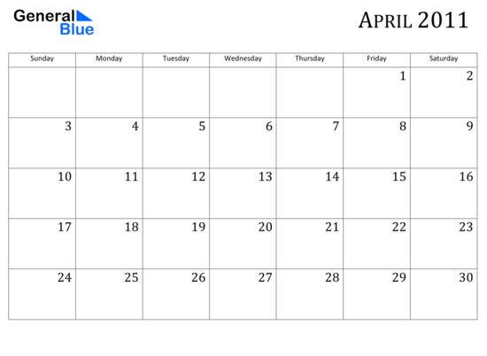 Calendar April 2011 : Katieyunholmes free printable blank calendars