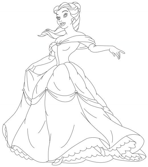 coloring pages disney princesses belle. Princess Belle Coloring Pages