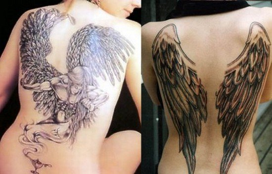 Tattoo Images of Angels And Demons Angel vs Demon Wing Tattoo