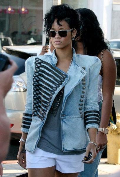Rihanna Wears Balmain Jacket