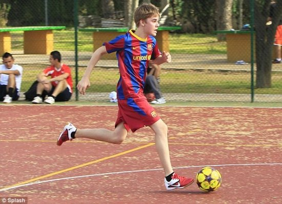bieber soccer. Pop star Justin Bieber has had