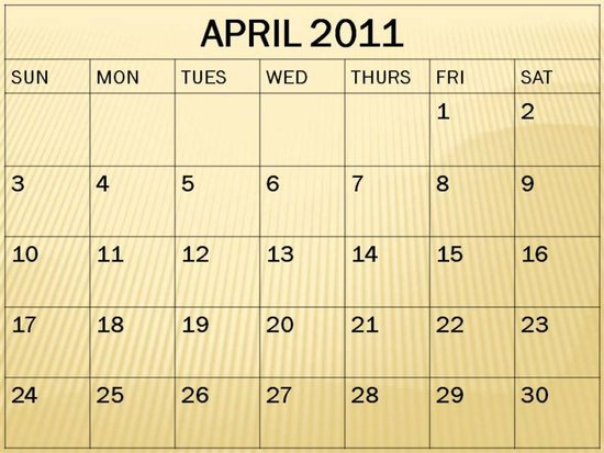 blank calendar april 2011. tattoo Printable Blank April