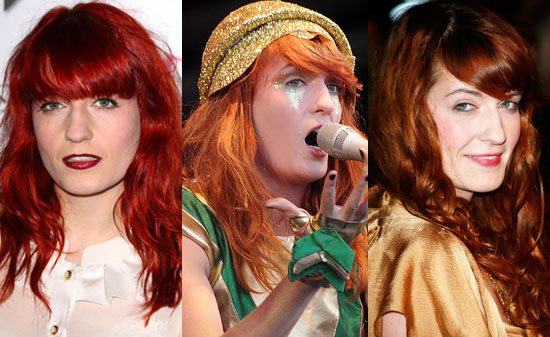 red hair singer. singer Florence Welch's walked the red carpet with hair that looked