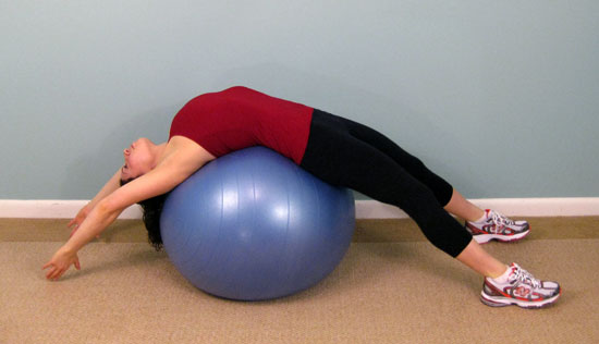 Exercise Ball Back Stretches