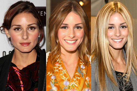 olivia palermo hair. red tint through her hair.