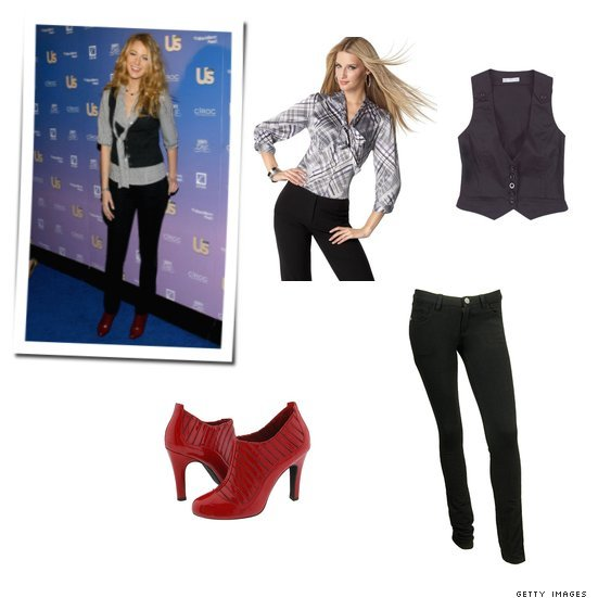 Get Blake's chic vest, tie neck blouse and skinny pant look for $195