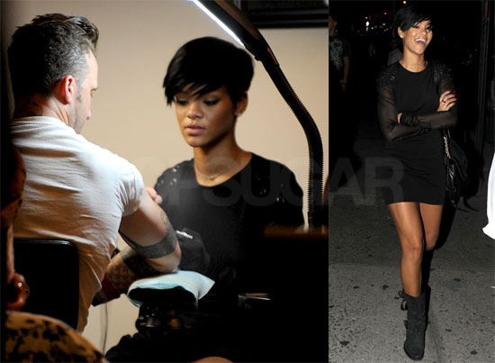 To see more photos of Rihanna at the tattoo parlor just read more.