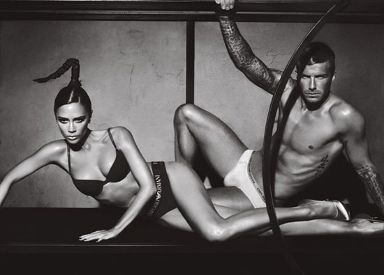 Two new Armani underwear ads featuring David and Victoria Beckham together