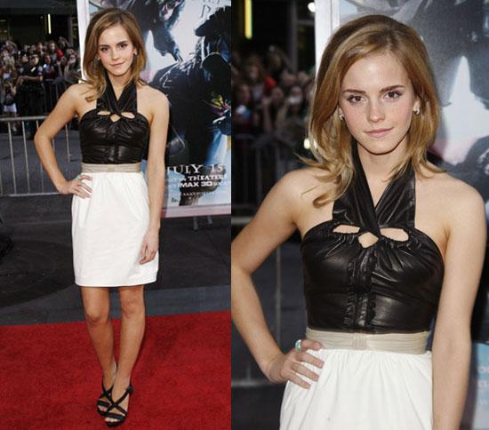 Actress Emma Watson Wears Leather Halter Proenza Schouler Dress to Harry