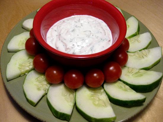 Snack Attack: Nonfat Yogurt Dill Dip and Veggies   POPSUGAR Fitness