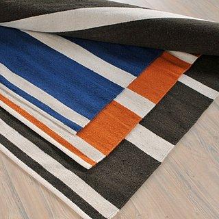 ask casa elle decor black and white striped rug popsugar home