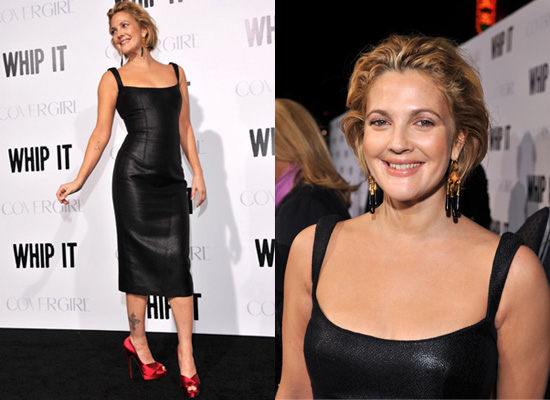 drew barrymore grey gardens premiere dress. She wore a tight fitting dress
