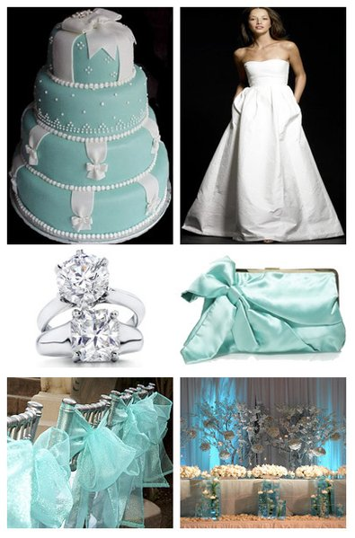 White Dress Tiffany Blue Clutch