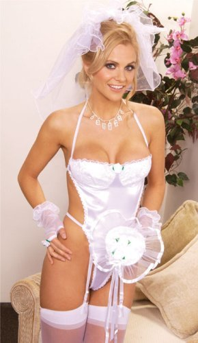 SeXy girl with sexy Bride Bridal Wedding Costume - Teddy Veil Gloves Bouquet ...
