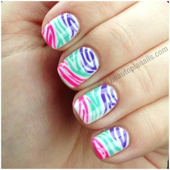 Gradient Zebra Nail Art