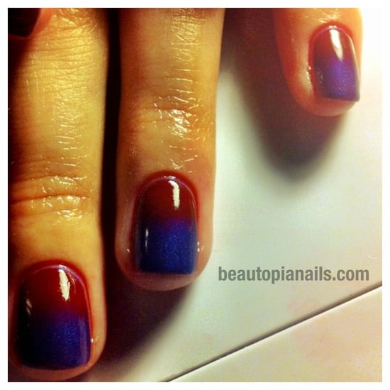 CND Shellac + Additives Red and Purple Gradient