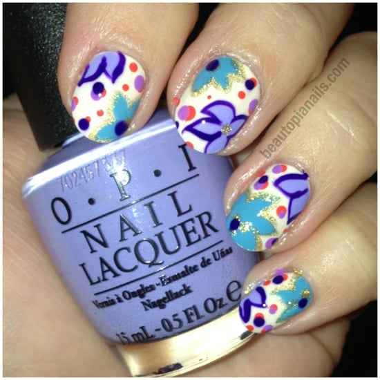 Floral Nail Art with OPI Euro Centrale