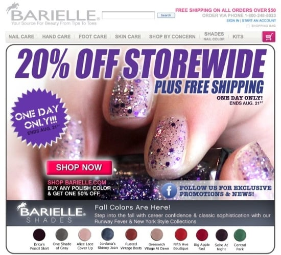 20% Off plus Free Shipping at Barielle Today Only!