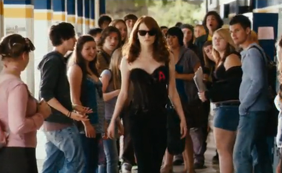 Emma Stone Scarlet Letter.Easy A Trailer Video Starring Emma Stone Penn Badgley Amanda Bynes
