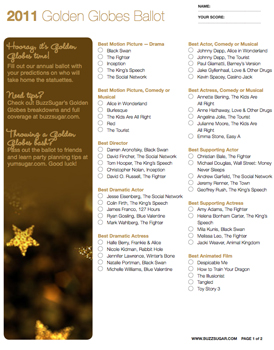 image relating to Golden Globe Ballots Printable identified as Printable Golden Earth Awards Ballot For 2011 Nominees