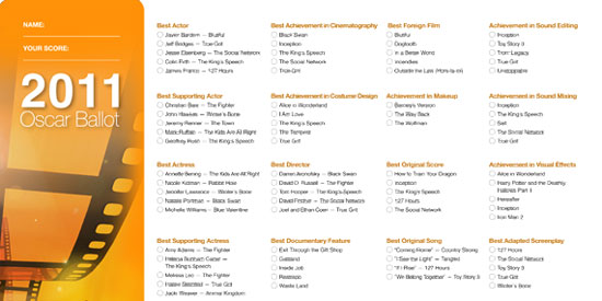 graphic about Oscar Ballot Printable known as 2011 Printable Oscar Ballot POPSUGAR Amusement